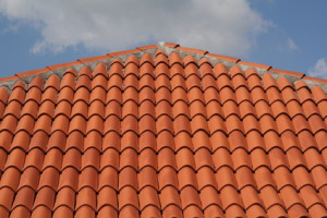 Traditional red clay roofing tiles.